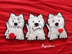 Felt Westie applique - how cute is that! Felt Christmas Ornaments, Dog Ornaments, Felt Dogs, Dog Crafts, Felt Brooch, Felt Patterns, Felt Fabric, Felt Hearts, Westies