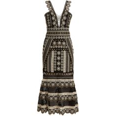 Jonathan Simkhai Deep V-neck eyelet-embellished macramé-lace dress (122,795 INR) ❤ liked on Polyvore featuring dresses, black multi, mid thigh dress, geometric lace dress, geometric pattern dress, jonathan simkhai dress and deep v neck lace dress