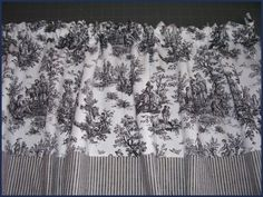 Toile Curtain Valance  Blk Blue Red or Pink Toile by NancysLinens, $13.98