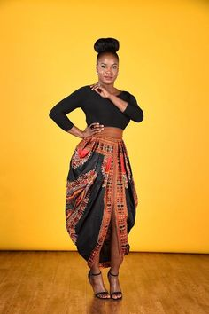 Dashiki Harem Skirt-Black by RAHYMA on Etsy