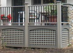 Add deck skirting for your raised synthetic deck or wood deck. Much better than what my deck currently shows! House, Home, House With Porch, Building A Deck, Deck Skirting, Deck Railings, New Homes, Diy Deck, Deck Design