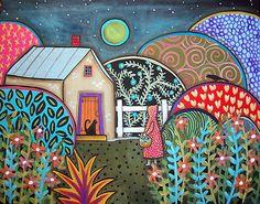 Nightfall 14X11 Folk Art Girl Cat Bird Moon Primitive Painting Original Karla G