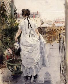 Young Woman Watering a Shrub: 1883 by Berthe Morisot (Private Collection) - Impressionism