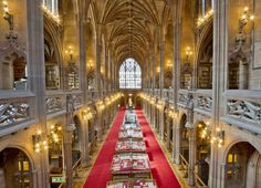 John Ryland was a textile magnate whose widow built this library to honor him at Manchester Univ. in England, the prime example of neo-Gothic architecture & 1st to have air filtration to preserve books.