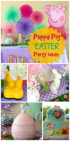 Peppa Pig stars at this pretty, pastel Easter party!  See more party ideas at CatchMyParty.com!