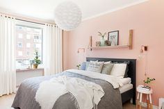 19 Magnificent Bedrooms Designs With Peach Walls Stay Warm This Winter in a Tropical Bedroom Peach Color Palette Peach Color Schemes HGTV . Pink Bedroom Walls, Peach Bedroom, Accent Wall Bedroom, Pink Room, Bedroom Colors, Home Bedroom, Bedroom Decor, Bedroom Ideas, Bedroom Girls