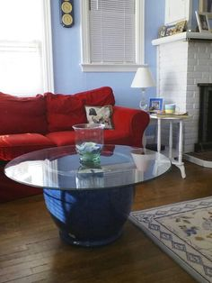 Sea Shell Display Coffee Table- custom made with cobalt blue. Perfect for outdoor or indoor space!