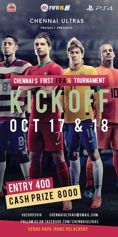 Chennai Ultras is pleased to announce that our next live event KICK OFF will be held at the Papa John's, Velachery on Saturday 17th and Sunday 18th October 2015