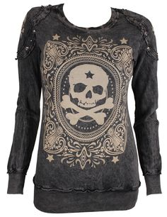 Style Addiction - Vocal Studded Skull Black Long Sleeve Shirt - 10052L, $49.99 (http://www.styleaddiction.com/vocal-studded-skull-black-long-sleeve-shirt-10052l/)