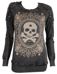 Style Addiction - Vocal Studded Skull Black Long Sleeve Shirt - 10052L, $49.99 (http://www.styleaddiction.com/vocal-studded-skull-black-long-sleeve-shirt-10052l/)
