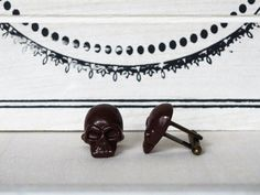 Brown Skull Cufflinks many colors Men's Cuff by BijHotGallery
