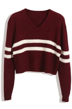 Sweet Striped Knit Cropped Sweater