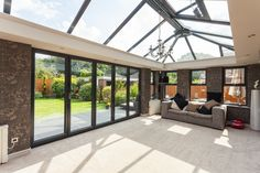 A large amount of glass make the orangery particularly contemporary
