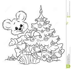 Photo About Christmas Teddy Bear Ornaments Gift Tree Coloring Page Illustration Cartoon