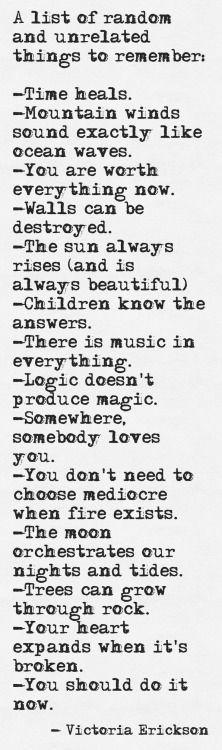 Random List of Things to Remember.