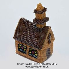 This beaded box pattern shows you how to make a beaded box styled as a church. It is a longish project, using mostly Peyote stitch. Suitable for experienced