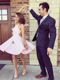A-line Above-knee Pink Satin Backless Short Homecoming Party Dress