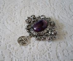 Dragon's Breath Fire Opal Pentacle Brooch Or Cloak Pin, wiccan jewelry pagan jewelry wicca jewelry goddess witch witchcraft pentagram magic by Sheekydoodle on Etsy