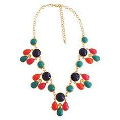 "Women's Bib Necklace with Stones - Blue (19"")"