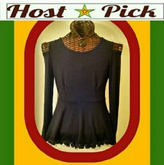 """""""KISS FROM A BLACK ROSE"""" Gorgeous Gothic peplum top. It's best features: Cut out shoulders and dangerously dainty hem of sparkle black roses and black tulle. This is not a high end item. NEVER WORN. NOT EVEN TRIED ON. Tops"""