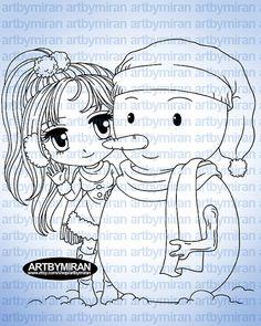 Digital Stamp Hola Sr. Snowman251 sello de Digi por artbymiran