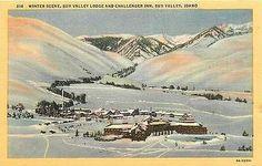 Sun Valley Idaho ID 1938 Sun Valley Lodge Challenger Inn Vintage Linen Postcard Sun Valley Idaho ID 1938 Winter view Sun Valley Lodge and Challenger Inn. Uunsed Curteich collectible antique vintage li