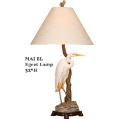 Egret Lamp A realistic looking egret is standing on this coastal inspired lamp's base.  Bring a touch of the outdoors into your home with this nature inspired lamp.   Egret Table Top Lamp Measures: 32