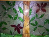 stained glass tree - this one hangs in the bathroom window