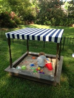 DIY Pottery Barn sandbox with canopy tutorial
