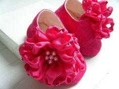 Organic Baby Shoes, Toddler Flats, Lipstick Pink, Silk Flower, Hemp Linen, Bobka Shoes by BobkaBaby