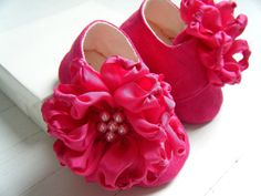 Organic Baby Shoes Toddler Flats Lipstick Pink Silk by BobkaBaby, $60.00
