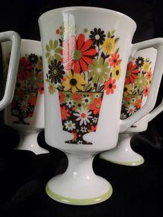 Vintage Footed Milk Glass Mugs Mod JSC by MidCenturyMadShop