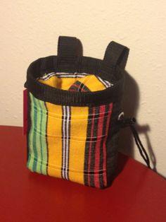Woven Rasta Striped Drawstring Chalk Bag  Barranquilla by CruxSax, $23.00 #etsy #etsyclimbersteam #CruxSax