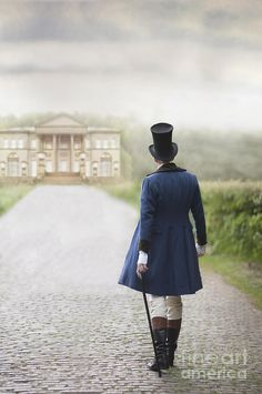 Victorian Gentleman Walking Towards A Country Manor House Photograph