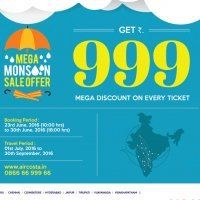 Aircosta Mega Monsoon Sale Offer : Get Rs 999 Off on Every Flight Ticket