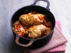 Paupiettes à la viande de porc, tomates, oignons, champignons, facile et pas cher
