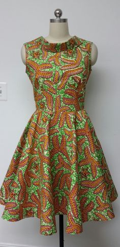 African Print Fit and Flare Dress. Mid-Low back. by NanayahStudio