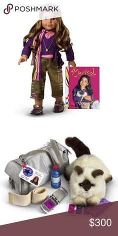 Marisol Doll and Accessories Set-American Girl COLLECTIBLE: American Girl Doll OF YEAR IN 2005 is Marisol Luna. MINT condition! Comes with original outfit. Pink top, satin green pants, purple shoes, purple shawl, colorful scarf, necklace and hat. Accessory set contains her silver dance bag with student ID, pet cat, bandage, energy bar, water bottle, cell phone, bandage stickers, and sticker earrings. ***SEE OTHER AMERICAN GIRL ITEMS IN CLOSET FOR BUNDLING***❌NO TRADES❌ ❌SERIOUS BUYERS…