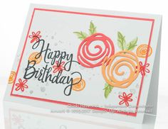 CASEd this card by Melissa D with a minor edit… Swirly Bird and Stylized Birthday stamp sets; Watermelon Wonder, Peekaboo Peach, Pear Pizzazz; Smoky Slate and Basic Black inkpads; Swirly Scribbles thi