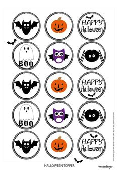 Halloween Topper Printables – Come Back to School Halloween Designs, Retro Halloween, Happy Halloween, Bolo Halloween, Halloween Tags, Halloween Birthday, Halloween Decorations, Halloween Illustration, Halloween Cupcakes