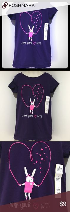 "🆕 Girl S (6-6X) Purple SS Crew Neck Tee NWT Purple SS with Cute Rabbit Jumping ""Heart"" Rope saying ""JUMP YOUR 💟Out!"" on the front. Comes from a smoke & pet free home, Thanks for visiting my closet HAPPY POSHING💟 Cat & Jack Shirts & Tops Tees - Short Sleeve"