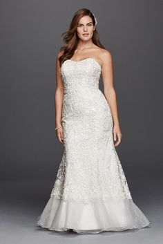 Plus Size Extra Length Lace Over Charmeuse Wedding Dress