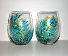 Handpainted  Stemless Wine Glasses Hand painted Peacock Feathers,Wedding,Anniversary,BirthdaySpecial Occasion Set of Two 21 oz.