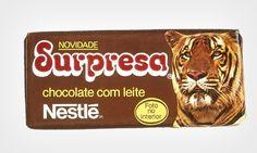 Lançado pela Nestlé em 1983, o chocolate Surpresa vinha com cartões de fotos e explicações sobre diferentes animais.