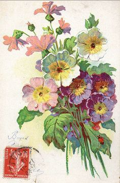 Victorian floral bouquet postcard
