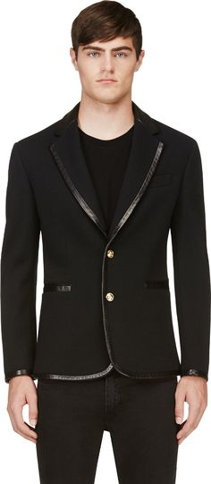 Versace Black Leather-Trimmed Blazer The right swagg for the right meeting!  Check out 0cc7e91199e