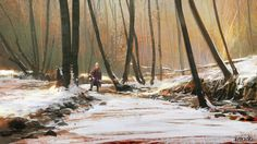 Sketch of a hunter in a  snowy forest