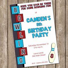 Boys bowling invitation, bowling birthday invitation, bowling invite, maroon, blue, printable, digital file