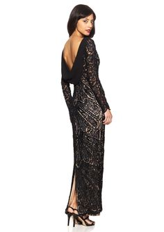 SUE WONG Cowl Back Long Sleeve Gown