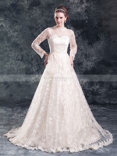 Allover Lace Wedding Dress with Bow and Long Sleeves